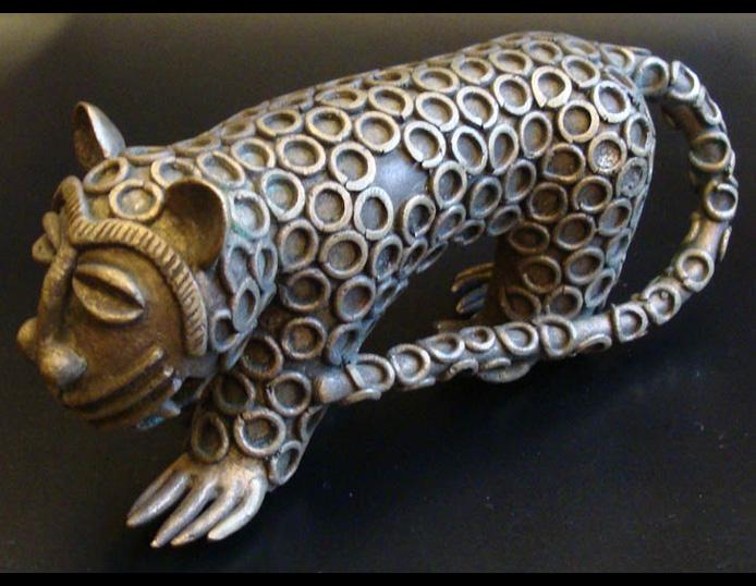 Ashanti Ghana Brass Leopard 500 Figures Deco Art Africa